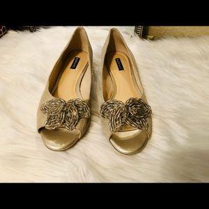 Alex Marie Gold, Silver & Cream Heels